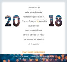 Toute l'équipe du cabinet Touzet Bocquet & Associés vous adresse ses meilleurs vœux pour l'année 2018